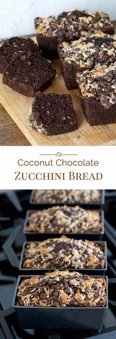 Chocolate Pumpkin Bread, Chocolate Chip Zucchini Bread, Coconut Chocolate, Chocolate Desserts, Chocolate Chips, Delicious Chocolate, Coconut Zucchini Bread, Zucchini Bread Recipes, Just Desserts