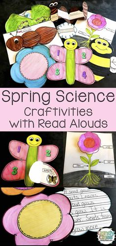 Add some science to your spring with these fun crafts and non-fiction read aloud books! Project on your Smartboard or print to read for teaching. Includes fun craftivities with bees, frog life cycle wheels, ants, flower life cycle, cloud types, water cycle activity, and worms. Use in an interactive notebook or as stand alones. Ideal for reading response activities with options for differentiating for kindergarten, first grade, and 2nd grade classrooms. #springscience #science