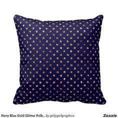 Navy Blue Gold Glitter Polka Dots Throw Pillow