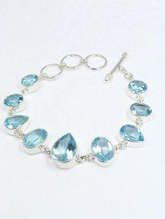 Sky Blue Topaz Bezel Set Sterling Silver Bracelet