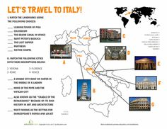 Let's Travel to Italy Landmarks Map | Education.com