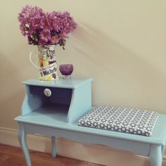 Upcycled vintage telephone table Hall Furniture, Upcycled Furniture, Painted Furniture, Upcycled Vintage, Repurposed, Vintage Telephone Table, Upcycling Projects, Interior Ideas, Sweet Home