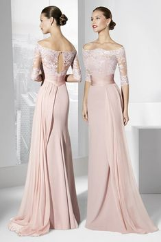 Wholesale Modest Mother off Bride Dresses Blush Evening Dresses Off Shoulder Half Sleeves Lace and Chiffon Sheath Long Evening Gowns Formal Dresses Mother Of Bride Outfits, Mother Of The Bride Gown, Mother Of Groom Dresses, Mothers Dresses, Mob Dresses, Ball Dresses, Ball Gowns, Evening Dresses, Bridesmaid Dresses