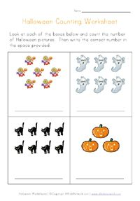 halloween counting practice worksheets, free