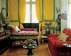 Traditional Style Bedroom In Lemon Yellow Persimmon Orange And Kelly Green Living Room