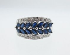 Natural-Blue-Sapphires-Diamonds-Solid-14k-White-Gold-Ring