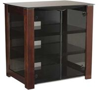 Removable Back Panel For Easy Maintenance/ Four Spacious Shelves/ Cable Management Channel Conceals Cables Behind Furniture/ Unique Convection Cooling System/ Hardwood Legs And Smoked Tempered-Glass Doors/ Chocolate Finish