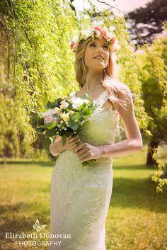 Elizabeth Donovan Photography - bridal gown, beautiful lace wedding dress, flower head piece, flower crown, bride willow tree