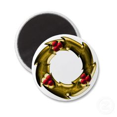Golden Christmas Wreath Refrigerator Magnet by Graphic Allusions. $3.70 per magnet. #christmas #decorations #magnets #wreath