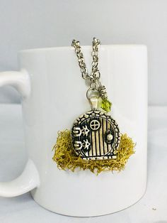 Gnome House Necklace, Lord of the Rings Jewelry, Tinkerbell Jewelry, Mossy Jewelry in the Shire, LOTR Jewelry, Fairy House Jewelry, Hobbit