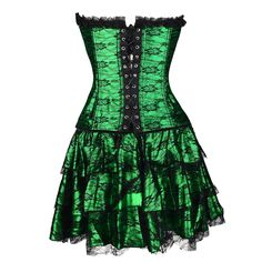 7ccdc0db3 AICONL Womens Lace Corset Dress Strapless Gothic Sexy Bustier Outerwear  Halloween Corset Skirt Top … 2XL Green   You can get more details by  clicking on ...