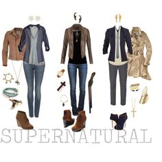 """""""Supernatural"""" by piggyandme on Polyvore --- Sam on the left, Dean in the middle, and Cas the right."""