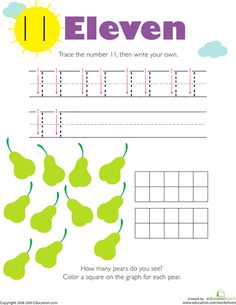 Worksheets: Tracing Numbers & Counting: 11