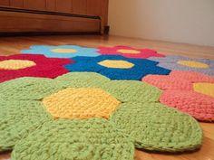 Crochet Flower Rug Nursery Rug Playroom Rug by Crochet Mat, Crochet Carpet, Crochet Amigurumi, Crochet Home, Crochet Crafts, Crochet Projects, Hand Crochet, Playroom Rug, Homemade Rugs