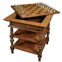 Chess table solid walnut furniture
