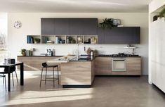 Cucine moderne in legno 2017 - Cucina in legno con penisola