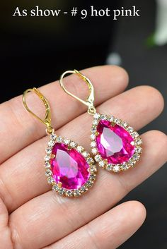 Wedding Jewelry Bridesmaid Gift Bridesmaid Jewelry Bridal Jewelry pink fuchsia pink Drop dangle cubic Earrings, ruby fuchsia,bridesmaid gift