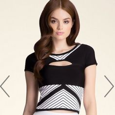 Black and white crop cut out Bebe top Brand new with tags! Still available.. bebe Tops Crop Tops