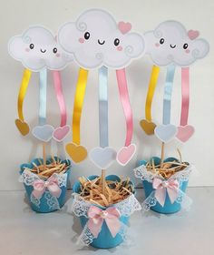 Centros de mesa Rain Baby Showers, Baby Boy Shower, Cloud Party, Diy And Crafts, Crafts For Kids, Diy Y Manualidades, Unicorn Party, Diy Party, Birthday Party Themes