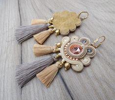 Nude Bridal Earrings with Tassels , Blush Weddings Earrings, Handmade Soutache Earrings for Boho Bride Wing Earrings, Teardrop Earrings, Dangle Earrings, Tassel Jewelry, Soutache Jewelry, Diy Jewelry, Jewelry Holder, Gold Bridal Earrings, Bridal Jewelry