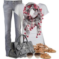 """Gray Jeans"" by uniqueimage on Polyvore"