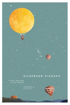 This concert poster for Silversun Pickups is a great example very minimal design. The moon being used as a hot air balloon is a cool idea and the dead space is bearable because of the stars. This poster might have a problem with conveying info if hung Gig Poster, Concert Posters, Festival Posters, Typography Poster, Rock Posters, Band Posters, Retro Posters, Music Posters, Graphic Design Posters