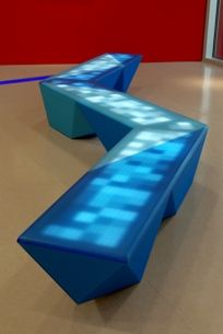 Interactive Lightning Bench by NunoErin. Reacts to human touch. Exterior surfaces made of renewable resin.