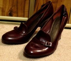Woman's Nine West Heels Red Wine Shoes Patent Leather Burgundy Office Size 8M #NineWest #PumpsClassics