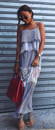 #summer #outfits Striped Maxi Dress + Red Tote Bag