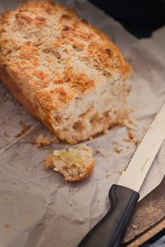 Beer bread. I have tried substituting orange soda or Sprite and it turns out so good!