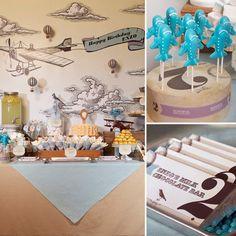 Vintage Plane Themed Party, very creative! #CuteBeltz