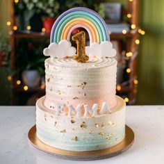 Two-Tier Pastel Pink, Mint & Gold with Rainbow Topper Two-Tie. - Two-Tier Pastel Pink, Mint & Gold with Rainbow Topper Two-Tier Pastel Pink, Mint - Rainbow First Birthday, Baby Birthday Cakes, Birthday Cake Girls, Girl First Birthday, Birthday Parties, Birthday Ideas, Unicorn Birthday, 4th Birthday, Two Tier Cake