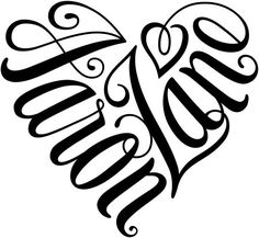 "A custom design of the names ""Aaron"" & ""Zane"", created in a heart shape for a tattoo design. wordillusion.com"