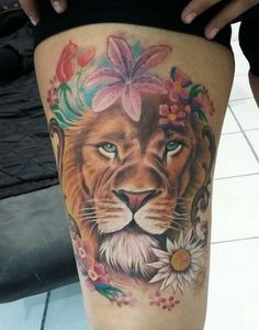 Lion With Flowers Totally In Love Of This Tattoo