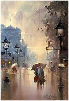 Dusan Djukaric Watercolor, 38x56 cm, Weather in Belgrade now !!