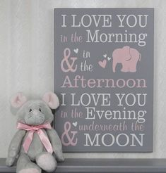 I Love You In The Morning | Baby Elephant Nursery Wood Sign | Girl Nursery Decor | Light Pink and Grey | Baby Shower Gift