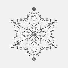 Crochet snowflake chart pattern by yunnara – Snowflakes World Crochet Snowflake Pattern, Crochet Stars, Crochet Snowflakes, Thread Crochet, Crochet Stitches, Crochet Diagram, Crochet Motif, Crochet Doilies, Crochet Flowers