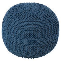 Cay Cable Knit Pouf Ottoman in Blue. Cozy and fun. $128 (reg$221)