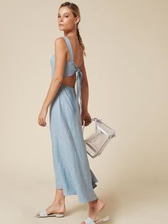 Tie one on. This is an ankle length dress with a straight neckline and a center back tie. Seaside Style, Carrie Bradshaw, Ankle Length, What To Wear, Cold Shoulder Dress, Neckline, Tie, My Style, Spring
