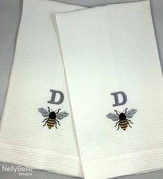 b32b2fb394 Monogrammed towels are a BEE-utiful addition to your home. Bee and monogram  are embroidered on cotton waffle weave towels.