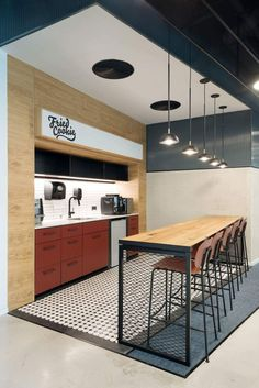 Modern Office Furniture & Office Space Design – Keep up with the times. Office Break Room, Cool Office Space, Office Space Design, Modern Office Design, Office Workspace, Office Interior Design, Office Interiors, Office Designs, Commercial Office Design