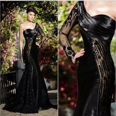 2015 Rami Salamoun Arabic Evening Dresses Sheer Long Sleeve One Shoulder Women Appliques Blink Sequins Formal Dresses Prom Dress Cheap Sexy Dresses Evening Dresses With Sleeves From Enjoyprom, $145.78| Dhgate.Com