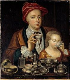 Man and Child Drinking Tea, circa 1720 Artist unknown, England