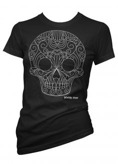 "Women's ""Quilted Pinstriped White Skull"" Tee by Pinky Star (Black)"