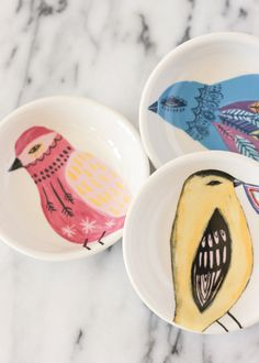 Illustrated Bird Dish – A Fabulous Fete The Shop