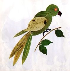 How to make Parrot with Autumn Leaves.  #kidscrafts #kidsactivities #parrotcraft…