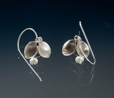Folded Single Leaf Dangle Earrings with Pearls by Sadie Wang. Hand fabricated single leaf earrings with pearls. Sterling silver, pearls.