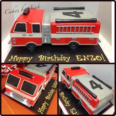 "Firetruck Cake at 18"" long."