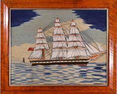 Sailor's Woolwork | British Sailor's Woolwork of a Merchant Navy Thrree-masted Ship | 1875 | Earle D. Vandekar of Knightsbridge Inc. Royal Navy Frigates, Merchant Navy, Royal Marines, Navy Ships, Submarines, Union Jack, Old And New, Folk Art, Sailor