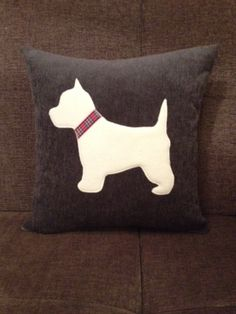 Fluffy Westie Cushion This lovely cushion features a large red heart and a gorgeous fluffy Westie dog with tartan collar The cushion is made from a